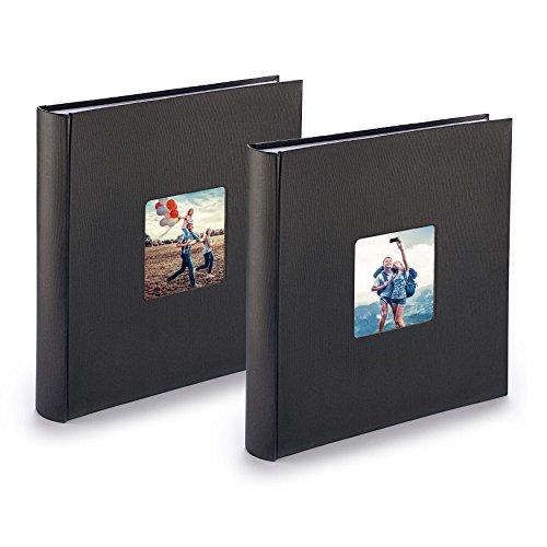 Fotoalbum Jumbo 2er-Set, Fotobücher zum Selbstgestalten im Format 30x30 cm, pro Album 400 Bilder Einkleben, Fotoalben mit Pergamin-Trennblättern, schwarz