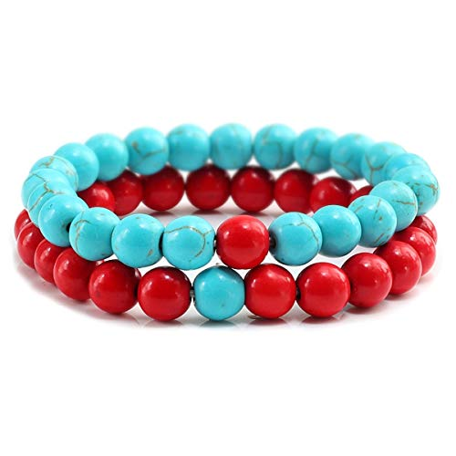 Colorful Bead Bracelets Natural Stone Bracelet Red and Black ZB-01 Bracelet (Color : Blue and red, Size : One Size)