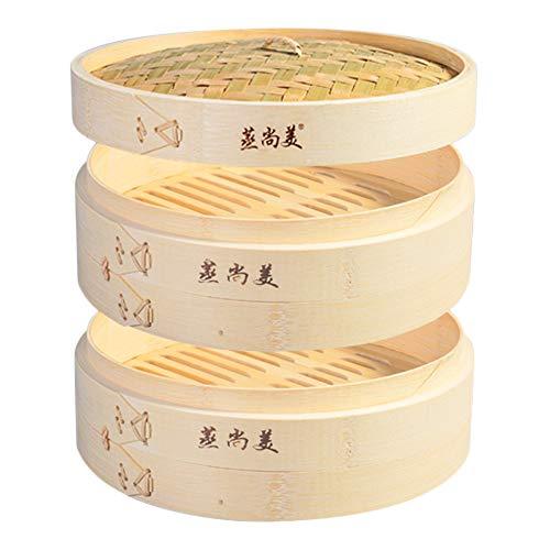 Hcooker 2 Tier Küche Bambus Dampfer Korb für Asiatische Kochen Brötchen Knödel Gemüse Fisch Reis
