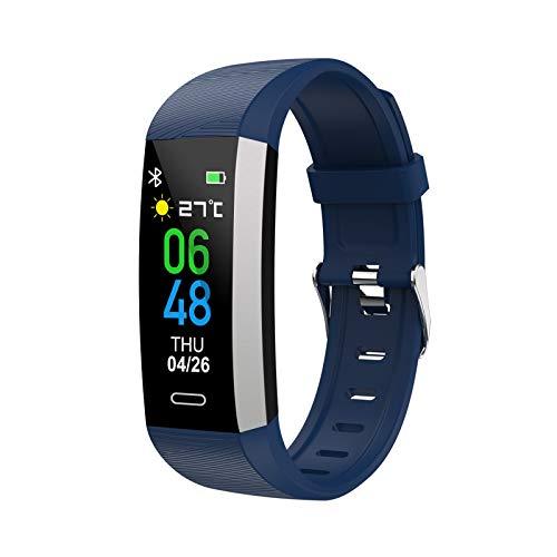 KTYX 【2020 Nuevo Pulsera Deportiva Bluetooth,Monitor de Ritmo Cardiaco, Monitor De Presión Arterial,Rejol Inteligente Deportivo for Hombre y Mujer Reloj Inteligente (Color : Blue)