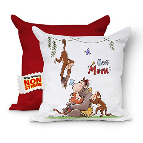 Best Mom - Cojín completo para el Día de la Madre con relleno para sofá, cojín para mamá, cojín decorativo, cojín 40 x 40 cm (rojo rojo)
