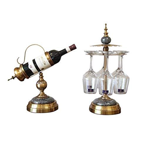 POETRY Estante de Vino Estilo Europeo Sala de Estar Adornos artesanales Gabinete de Vino Americano Estante de Vino Estante de aleación para Copas de Vino (2 Juegos) Vino de champán