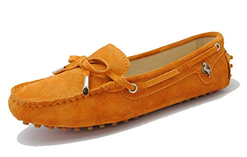 Minishion Womens Loafers & Slip-ons Orange Suede Driving Shoes YB9602 US 8