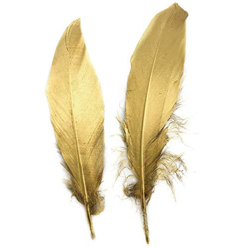 ERGEOB® Echte große Gänsefedern in Gold / 15-22cm Federnlänge, 50 Stück pro Verpackung, 21 Farbvarianten, Fasching, Karneval, Basteln, Dekoration, Hochzeit.