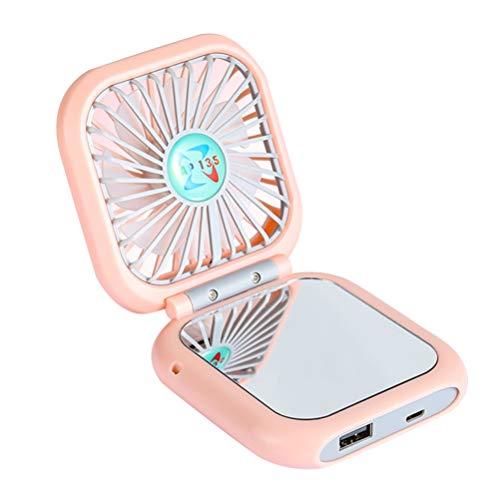 FRCOLOR Collier Ventilateur Mini Ventilateur avec Maquillage Petit Ventilateur Portable Personnel Ventilateur Électrique pour Bureau de Voyage (Rose)