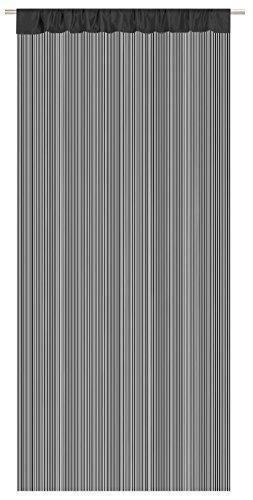 Mack Hochwertige Fadengardine Fadenvorhang Fadenstore 90x245 cm 6 Farben beliebeig kürzbar (schwarz)