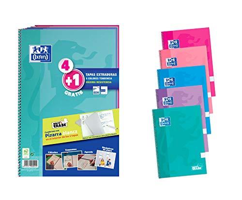 Oxford Cuadernos A4, Tapa Extradura, Pizarra Write&Erase, 80 Hojas, Cuadrícula 4x4, Pack 4+1 , Surtido colores tendencia