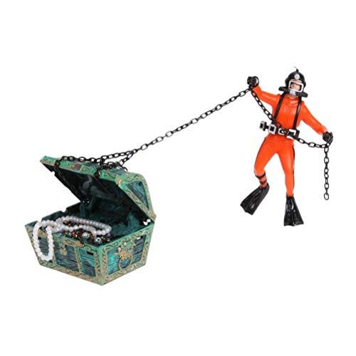 Toyvian Treasure Hunter Taucher Action Figure Aquarium Ornament Aquarium Dekoration (Orange)