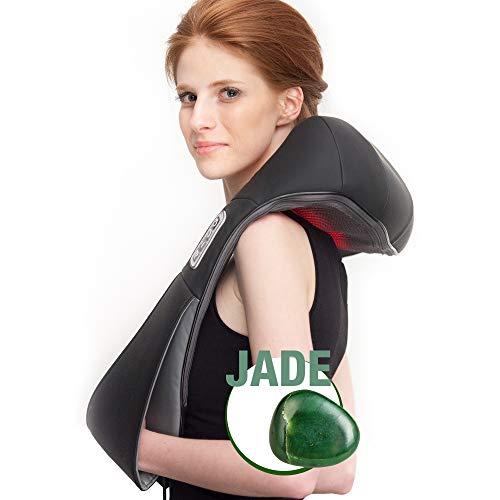 Donnerberg Basic Jade Appareil de massage shiatsu pour la nuque et les épaules avec chaleur infrarouge et têtes de massage recouvertes de jade