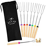 Zulay (8 Pack) Long 32 inch Marshmallow Roasting Sticks Extendable Design - Stainless Steel Smores Skewers for Camping, Bonfire, Fireplace - Extendable & Retractible Telescoping Marshmallow Sticks