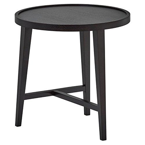 Amazon Brand -Rivet Round Wood Nesting Table, 52 x 52 x 53m, MDF with Walnut Veneer/Solid Beech Wood, Black Oak-Effect