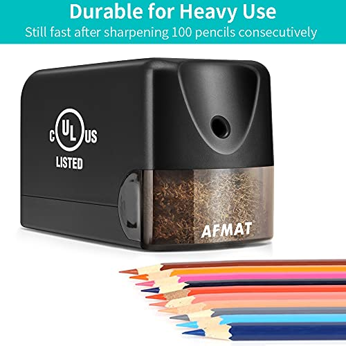 Electric Pencil Sharpener Heavy Duty, AFMAT Pencil Sharpener Electric for Classroom, UL Listed Plug in Pencil Sharpener for 6.5-8mm No.2/Colored Pencils, w/Upgraded Helical Blade(Sharpen 10000 Times) Photo #2