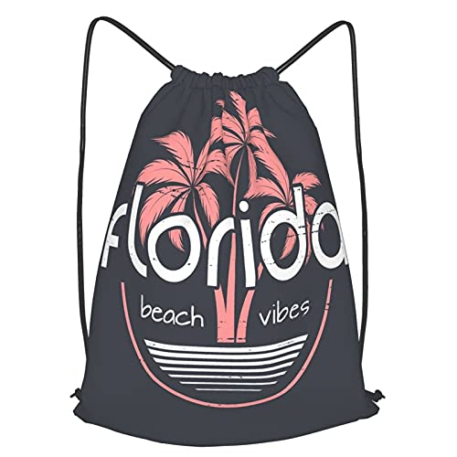 WENLISAN Mochilas de Cuerdas Unisex,Diseño de vector de camiseta y ropa de Florida Beach Vibes, impresión,,Impermeable Mochila con Cordón,adulto Niños exterior Mochilas Casual,yoga Bolsas de Gimnasia