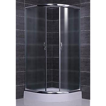 Box ducha semicircular redondo cristal 6 mm Apertura deslizante 75 x 75 cm, Mate: Amazon.es: Hogar