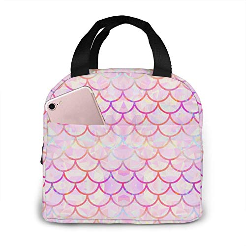 Lunch Box Insulated Bag Mermaid scale Portable insulated lunch Bags Stylish Lunch Tote Bag Reusable Waterproof Oil-proof Cooler Bag Simple lunch box bag for Men/Women/Kids