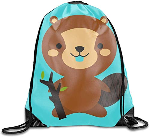 DHNKW Unisex-Adult Drawstring Shoe Bags Cute Squirrel Cartoon Storage Organizer Sack for Travel Carrying