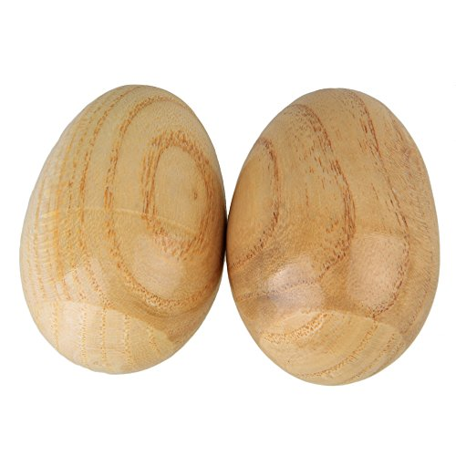 lovermusic Lovermusic Natural Finish Percussion Wooden Egg Shakers Musical Instrument Tool Pack of 2