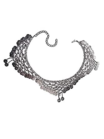 """BookMyCostume Indian Gypsy Banjara Silver Coin Heavy Waist Chain Kamarband """" Fancy Dress Costume Accessory for Girls Free Size"""