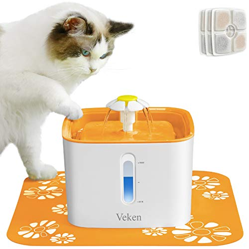 Veken Cat Water Fountain, 84oz Automatic Pet Water Fountain Dog Water Dispenser with 3 Replacement Filters & 1 Silicone Mat for Cats and Small to Medium Dogs (Orange)