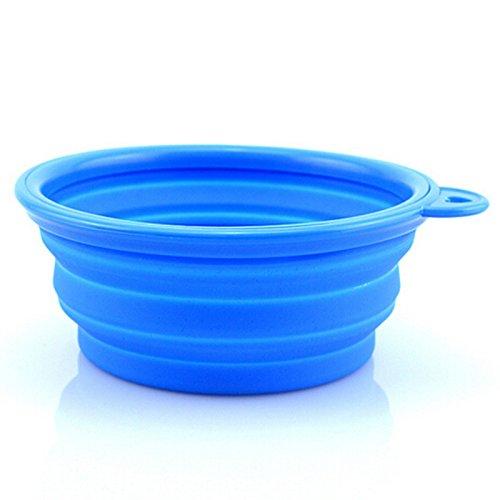 Awhao plato para Perro, Gato, Perro, Viaje, Plegable, Portátil, de silicona, de alimentación y agua