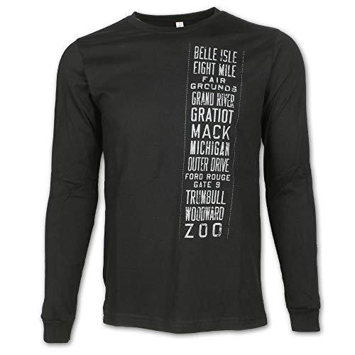 Detroit Scroll - Camiseta de Manga Larga para Hombre (algodón), diseño de Michigan - Negro - XX