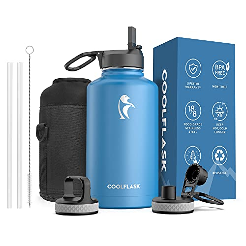 Insulated Water Bottle 64 oz with Reusable Straw & Spout Lid, Coolflask Half Gallon Water Jug, Sweat-Proof BPA-Free Keep Cold for 48 Hrs or Hot for 24 Hrs, King s Blue