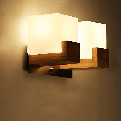 Contraction japonais en bois couloir lampe murale chinoise Chambre à coucher Applique murale en acrylique Blanc Cube des Tables d'escalier Coque éclairage mural Fixations