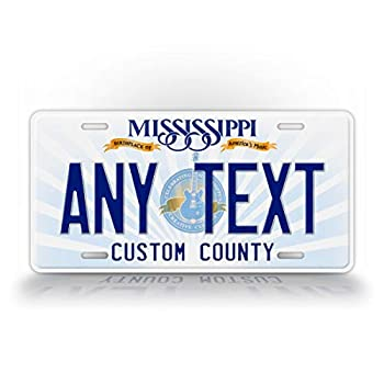 SignsAndTagsOnline Custom Mississippi State License Plate MS Replica Personalized Text Novelty Auto Tag