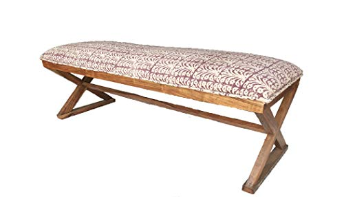 ROYAL RUG GALLERY Cotton upholstered 2 Seater Solid Wood Bench