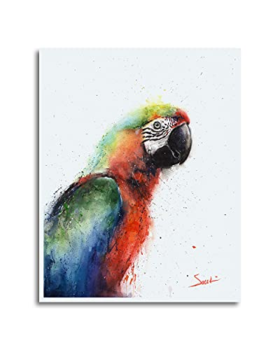Macaw Parrot Watercolor Print, Parrot Painting, Macaw Print, Parrot Decor, Parrot Wall Art, Parrot Gifts