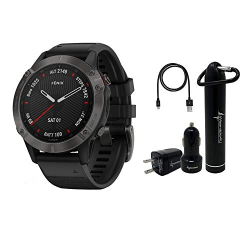 Garmin Fenix 6 Premium Multisport GPS Watch with Pulse Ox with Included Wearable4U Power Pack Bundle (Sapphire/Carbon Gray DLC with Black Band)