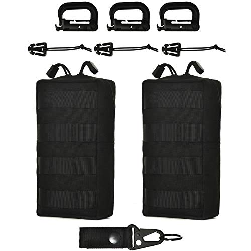 GZSAIPASI 2 Pack 100% Full Refund Assurance 1000D Nylon Molle Tactical Pouches Compact Utility EDC Waist Bag Pack Small Gear Gadget Organizer for Backpack (Black001)