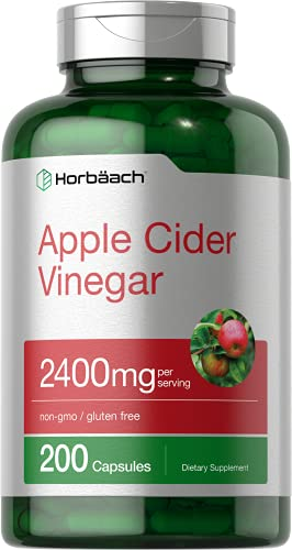 Apple Cider Vinegar Capsules   2400mg   200 Pills   with The Mother   Non-GMO, Gluten Free Supplement   by Horbaach