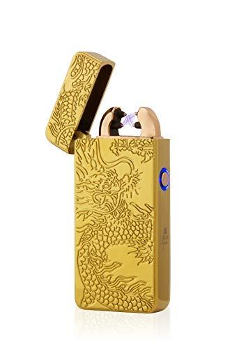 TESLA Lighter TESLA Lighter T08 Lichtbogen Feuerzeug, Plasma Double-Arc, elektronisch wiederaufladbar per USB, ohne Gas und Benzin, mit Ladekabel, in edler Geschenkverpackung, Drache 3D Regenbogen Regenbogen