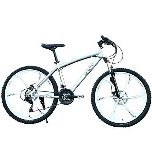 Bbdsj 26-Zoll-Mountainbike Kohlenstoffstahl stark 26-Zoll-Doppelscheibenbremse Land mit Variabler Geschwindigkeit 6 Messer 24-Gang-Rennrad Fahrrad vollgefedertes Mountainbike- Weiß