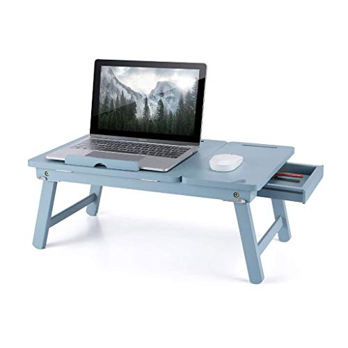 Adjustable Lap Desk, Home Bed Tray Table Foldable for Laptop Bamboo Breakfast Serving Tray w' Tilting Top Drawer Tablet Slots, Blue 0919