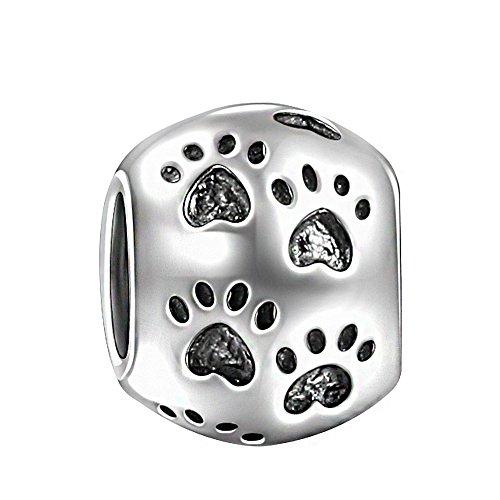 Soufeel Pfotenabdrücke Damen Beads Charms 925 Sterling Silber Passt für Armband Kette