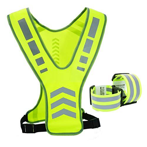 TOURUN Reflektierende Laufweste mit Tasche für Damen, Herren und Kinder, Sicherheits-Reflektorweste, Bänder für Nacht-Radfahren, Spazierengehen, Radfahren, Joggen