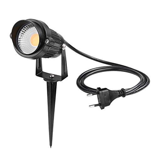 LemonBest® 5W LED Gartenstrahler Lawn Licht Garten Scheinwerfer mit Erdspieß für den Außenbereich, IP65, AC 85-245V, EU Stecker (Warm weiß)