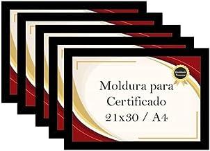 Kit 5 Porta Certificados Moldura A4 para Foto Decoração (Preto)