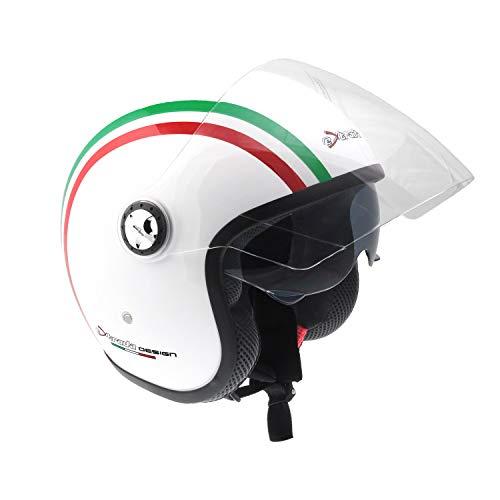 """Extrada 0386 Casco da Moto Jet - Doppia Visiera. Visierino interno parasole supplementare """"occhiale"""" retrattile. Materiale termoplastico iniettato. Imbottitura interna - Bianco/Italy Stripes, XL"""