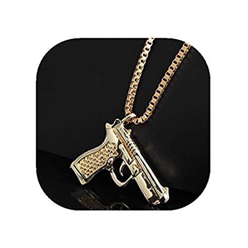 yichahu Colgante de pistola Collares Oro Subametralladora Collar Hombres Hip Hop Joyería Cadena