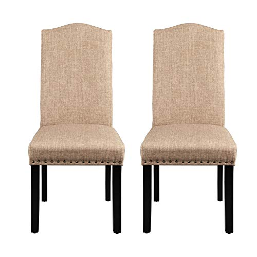 Yaheetech Dining Chairs Dining Room Chairs Living Room Chairs with Rubber Wood Legs and Non-woven Fabric, Wedding, Hotel, Restaurants, Kitchen, Hall, Side Chairs with Nailhead Trim, Set of 2, Khaki