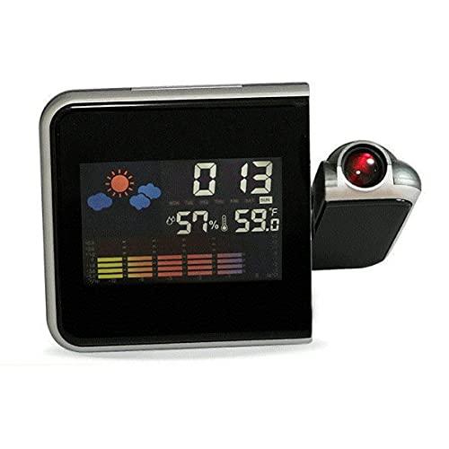 Dswe Reloj Despertador de proyección Digital Led Colorido, termómetro de Temperatura, higrómetro de Humedad, Reloj de proyector de Tiempo de Escritorio