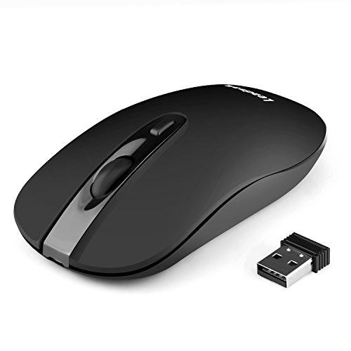 LeadsaiL Wiederaufladbare Funkmaus, Laptop Maus 2.4G Ergonomische Leiser klick Kabellose Maus, ON-Off-Schalter Computermaus mit USB Nano Empfänger, 2400 DPI 5 Einstellbare, USB-Kabel (Black)