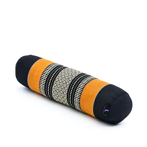 Leewadee Yoga Bolster pequeño – Cojín Alargado para Pilates y meditación, reposacabezas Hecho a Mano de kapok, 55 x 15 x 15 cm, Naranjo Negro