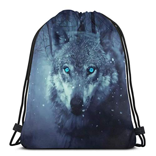 BXBX Plegable Drawstring Backpack Bag Sport Gym Sackpack Cinch Bag for School Yoga Gym Swimming Travel Unisex - Wolf Series