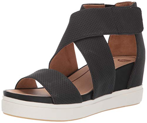 Dr. Scholl's Shoes Women's Sheena Wedge Sandal, Black Smooth Perforated, 8 M US
