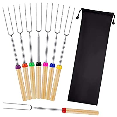 Mluchee 8Pcs Marshmallow Roasting Sticks Smores Skewers for Fire Pit 32inch Telescoping Sausage BBQ Hot Dog Forks Portable Carrying Bag for Grill Campfire