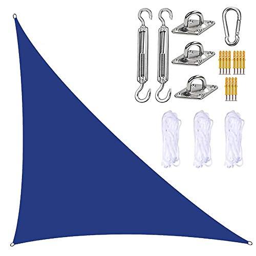JJIIEE Parasol para Patios, toldo Triangular con Kit de fijación, 3 Cuerdas, 95% de Bloqueo UV, Resistente al Agua y a los Rayos UV, marquesina para jardín y Patio al Aire Libre,Azul,5x5x7.1M